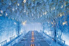 Unlike covering your wedding venue with towering floral arrangements, creative lighting can be surprisingly affordable. From uplighting to lanterns, image projections to illuminated backdrops, here are some of our favorite ideas. Wedding Reception, Wedding Venues, 2018 Wedding Trends, Reception Decorations, Reception Ideas, Winter Wonderland Wedding, Celebrity Weddings, Wedding Inspiration, Wedding Ideas