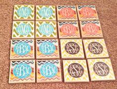 Chevron monogrammed coasters!