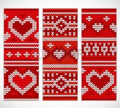Seamless knitted: Valentines seamless knitted banners with hearts for your business Illustration