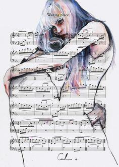 Waiting Place on sheet music Art Print by agnes cecile - X-Small Watercolor Portraits, Watercolor Paintings, Watercolours, Watercolor Illustration, Silvia Pelissero, Agnes Cecile, Sheet Music Art, Music Sheets, A Level Art