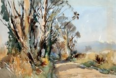 Edward Wesson (1910 — 1983, UK) Path through the Trees. watercolor on paper. 13 x 19 in.