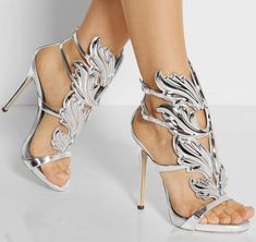 Patent Leather Wings Women Open Toe Sandals Ankle Buckles Ladies Fashion High Heels Sexy Cut Out Female Dress Shoes Plus Size 42 Sexy High Heels, Womens High Heels, Dress And Heels, Dress Shoes, Women's Open Toe Sandals, Giuseppe Zanotti Heels, Prom Heels, Studded Heels, Color Plata