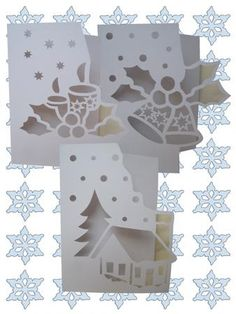 OVER THE EDGE CHRISTMAS SET on Craftsuprint designed by Apetroae Stefan - A set of 3 of my christmas over the edge cards, in gsd format, with optional backing plates - Now available for download!