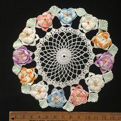 "Vintage Doily Handmade Crocheted Pastel Purple Blue Peach Roses Table Topper 14"""