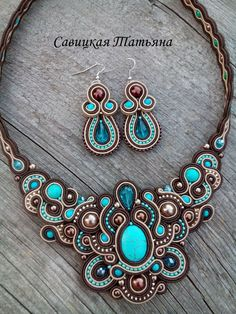 Turquoise and Brown Soutache Set Fabric Jewelry, Beaded Jewelry, Handmade Necklaces, Handmade Jewelry, Brown Earrings, Soutache Necklace, Shibori, Necklace Lengths, Jewelry Design