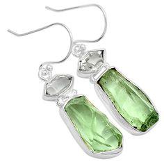 Green Amethyst Rough & Herkimer Diamond 925 Silver Earrings Jewelry 7286E…