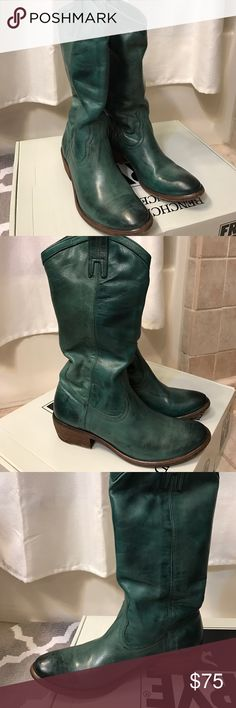 Frye Carson pull on boots Frye Carson pull on boots. Jade green. Size 6.5. Original box. In excellent condition. All leather soles show some wear but only worn two times. Frye Shoes Heeled Boots