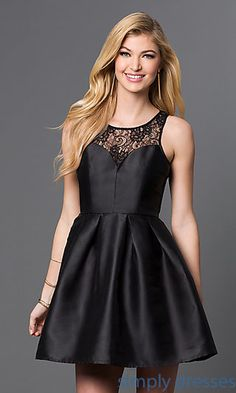 Fit and Flare Short Lace Holiday Party Dress