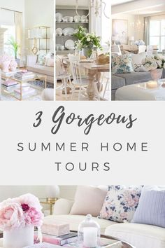 Three gorgeous summer home tours full of summer decorating ideas. From farmhouse, to french country, to transitional style, you'll find so many easy summer decor ideas for your home. #summerdecorating #decorideas #summerhometour #summerdecor