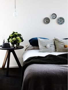 Im obsessed with trying to find these bedside tables!  LOVE LOVE LOVE them. Pom Pom cushions