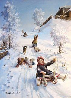 Snow Scenes, Winter Scenes, Rice Paper Decoupage, Paper Clip Art, Winter Illustration, Happy People, Winter Snow, Vintage Christmas, Art For Kids