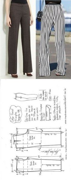 New Sewing Pants Simple Ideas Sewing Pants, Sewing Clothes, Dress Sewing Patterns, Clothing Patterns, Pants Pattern, Diy Clothing, Sewing Techniques, Pattern Fashion, Sewing Tutorials