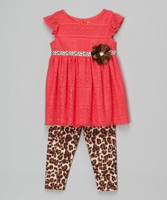 Youngland Coral Rosette Tunic & Leopard Leggings - Infant, Toddler & Girls by Youngland #zulily #zulilyfinds
