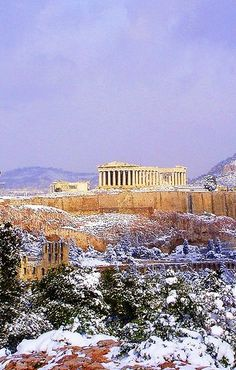 Athens, Acropolis - Well we didn't experience snow, but love the shot. Stayed just a short downhill walk from here at the Electra in the Plaka area.