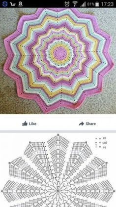 Today we have one more very special crochet project for you and one more crochet tutorial for this amazing doily. Crochet doilies are just wonderful for adding a Th Ripple crochet mandala in many colors Crochet Star Blanket, Crochet Stars, Crochet Round, Lovey Blanket, Crochet Doily Diagram, Crochet Mandala Pattern, Crochet Stitches Patterns, Doilies Crochet, Crochet Carpet