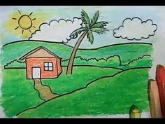 Learn How To Draw Landscape With A House Coconut Tree And Mountain Background For