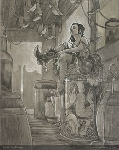Pencil art by illustrator Wylie Elise Beckert, based on Lee Hazlewood & Nancy Sinatra's song Summer Wine: a saloon girl tries on her new boots & spurs while a dead cowboy pickles in a jar of wine.