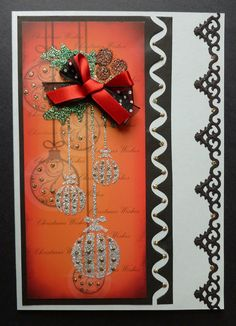 'Silver Sparkle Baubles@ card  _ Imagination Craft's - Silver, Green and Berries Sparkle Mediums.  Detail Sparkle.  Metal Spatula.  Baubles panel stencil.  Baubles red patterned card.   Spellbinders ornate border die.   Memory Box zig zag die.  Silver/grey card.  June 2014.