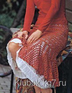 Летняя ажурная вязаная юбка годе крючком