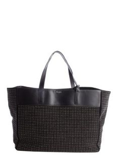 black and silver leather accent suede beaded detail tote bag