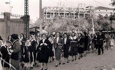 Zaragoza, 1954. Paseo General Mola (Sagasta, hoy) Peregrinación con motivo del Año Mariano
