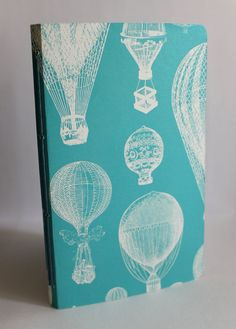Balloon Pattern Handmade Journal (blue) - Travel Journal - Lined Paper