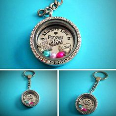 30mm A MOTHERS LOVE IS FOREVER filled Living Memory Glass Locket Keyring GIFT