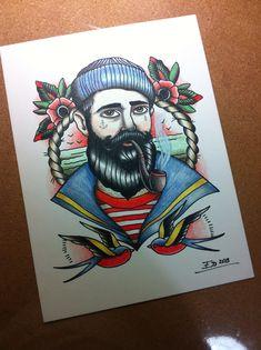 Illustration by Ed / Hand & Ink© hand-ink.blogspot.com ➡hand-ink@hotmail.com Sailor man - old school tattoo