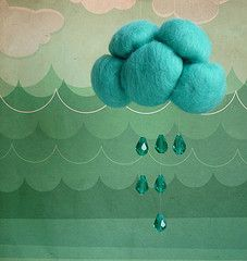 Felted clouds and crystal raindrop beads mobile...