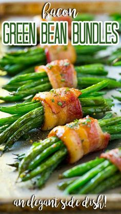 These bacon wrapped green bean bundles are the perfect elegant side dish for any meal! Thanksgiving Potluck, Best Thanksgiving Side Dishes, Clean Eating Recipes, Lunch Recipes, Appetizer Recipes, Easy Recipes, Appetizers, Turkey Side Dishes, Green Bean Bundles