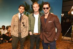 Johannes Huebl Jack Fox and David Gandy attend the Belstaff presentation during The London Collections Men SS17 at QEII Centre on June 12 2016 in...