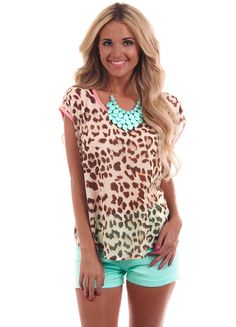 Lime Lush Boutique - Animal Print Coral Accent Top, $29.99 (http://www.limelush.com/animal-print-coral-accent-top/)