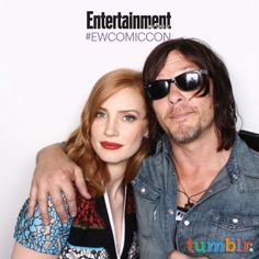 Jessica Chastain and Norman Reedus - Comic-Con 2015 - EW's Celebrity GIF Guide, Day 3 - EW.com