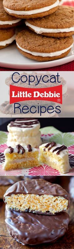 Little Debbie Copycat Recipes - make all of your favorite Little Debbie cakes at home! Oatmeal Crème Pies, Zebra Cakes, Nutty Bars, Swiss Cake Rolls, and more!