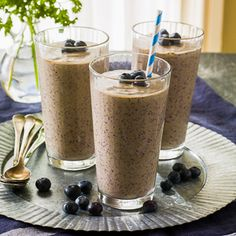 Chia (or hemp) seeds add healthy fats, fiber and a little protein for an extra nutritional boost in this healthy Coconut-Blueberry Green Smoothie recipe. Peanutbutter Smoothie Recipes, Protein Smoothie Recipes, Peanut Butter Smoothie, Breakfast Smoothie Recipes, Healthy Peanut Butter, Green Smoothie Recipes, Healthy Smoothies, Healthy Snacks, Healthy Recipes