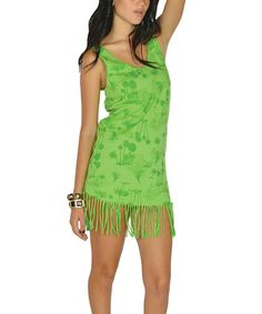 Take a look at this Green Tropical Retro Fringe Dress by Lagaci on #zulily today!