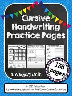 Cursive Handwriting Practice Pages - A Cursive Unit - {138 pages! $