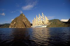 St Lucia, Soufriere, Royal Clipper and the Pitons