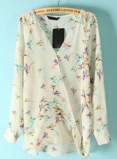 Beige Long Sleeve Hummingbird Print Chiffon Blouse pictures