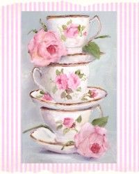 Stacked Pink Tea Cups and Roses - Free Postage Australia wide only