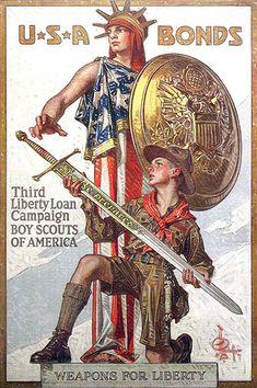 War bonds poster, 1918. JC Leyendecker's partner, Charles Beach, modeled both characters.