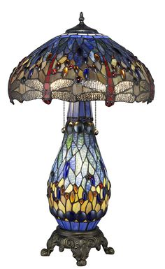 Warehouse of Tiffany's T18275TGRB Dragonfly Tiffany-Style 26-Inch Table Lamp with Lighted Base