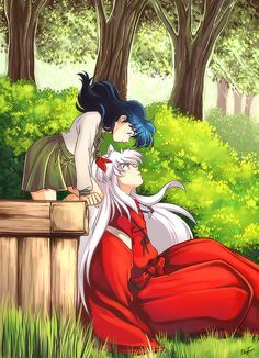 Kagome Higurashi, a schoolgirl and the half dog-demon, Inuyasha. Inuyasha E Kagome, Amor Inuyasha, Kagome And Inuyasha, Kagome Higurashi, Kirara, Inuyasha Fan Art, Manga Anime, Anime Amor, Anime Love