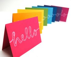 Hello Stationery in Rainbow Colors . Handwritten Outline Calligraphy . Set of 8 Folded Cards and White Envelopes || by SparrowNestScript on Etsy