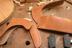 Axes, adzes and drawknifes #1: Making a leather sheath for a axe or adze. - by mafe @ LumberJocks.com ~ woodworking community