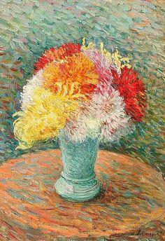 View Vase de dahlias by Henri Lebasque on artnet. Browse upcoming and past auction lots by Henri Lebasque. Art Floral, Flowers Illustration, Ouvrages D'art, Art Folder, Vase, 2d Art, Oeuvre D'art, Les Oeuvres, Collage Art
