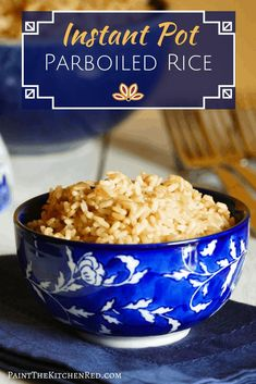 Instant Pot Parboiled Rice (converted rice) produces perfect rice every time. Healthier than regular white rice, parboiled rice grains are firm and tend to be less sticky or clumpy. Learn how to pressure cook Instant Pot parboiled white rice and parboiled brown rice. #parboiledrice #instantpot #pressurecooker #rice