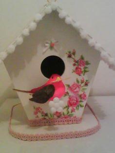 casinha de passarinho-dessas que vendem em locais especializados em artigos para jardim- ai vira lindas casinhas para decoração   Receitas Lá na Roça