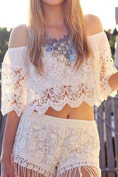 New Crochet Summer Blouse Boho Style Ideas White Lace Crop Top, White Lace Shorts, Lace Crop Tops, White White, Feminine Style, Boho Style, Summer Blouses, Boho Tops, Festival Fashion
