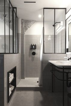 perfectuion from Commune: black and white bathroom, black metal framed glass dividers, Ace Hotel LA Bathroom Toilets, Bathroom Renos, Bathroom Interior, Modern Bathroom, Master Bathroom, Bathroom Ideas, Bathroom Designs, Shower Bathroom, Minimalist Bathroom